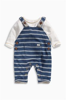 Navy Stripe Dungarees Set (0mths-2yrs)