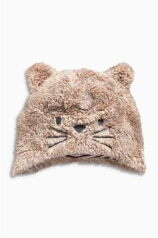 Tan Fleece Cat Hat (0-18mths)