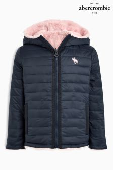 Abercrombie & Fitch Navy Reversible Puffa Jacket