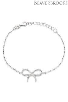 Beaverbrooks Silver Cubic Zirconia Bow Bracelet