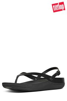 FitFlop™ All Black Flip Leather Sandal