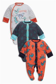 Three Pack Orange Grey Dinosaur Sleepsuits (0mths-2yrs)