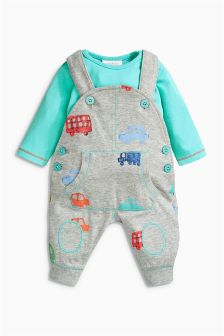 Multi Printed Dungarees And Bodysuit Set (0mths-2yrs)