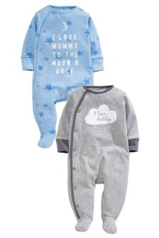 Two Pack Blue Cloud Mum And Dad Sleepsuits (0mths-2yrs)