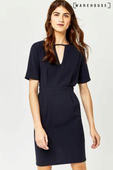 Warehouse Navy V Front Dress