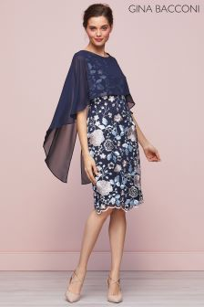 Gina Bacconi Navy Jacquelin Dress And Chiffon Cape