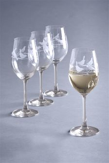 Set Of 4 Song Bird Wine Glasses