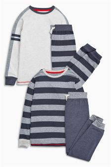 Blue Classic Stripe Drop Crotch Pyjamas Two Pack (3-16yrs)