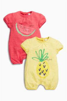 Red/Yellow Fruit Rompers Two Pack (0mths-2yrs)