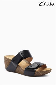 Black Clarks Leather Temira East Wedge