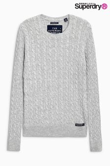 Superdry Grey Marl Luxe Mini Cable Knit