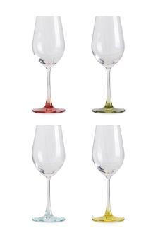 Set Of 4 Colour Base Wine Glasses