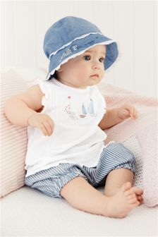 White/Blue Boat Blouse and Bloomer Set (0mths-2yrs)