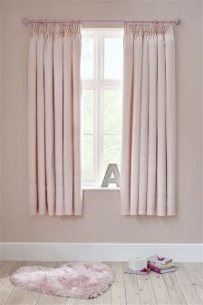 Pink Sequin Panel Black Out Pencil Pleat Curtains