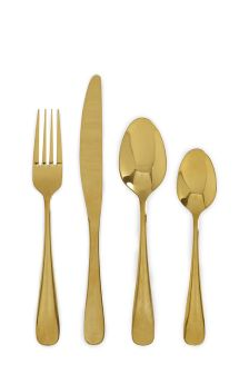 16 Piece Gold Effect Cutlery Set