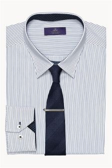 Navy Twin Stripe Shirt, Tie And Tie Clip Set