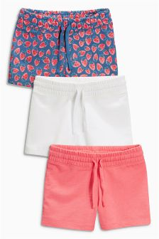 Red, White And Strawberry Shorts Three Pack (3-16yrs)