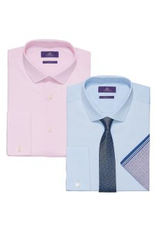 Blue/Pink Shirts And Tie Set Two Pack