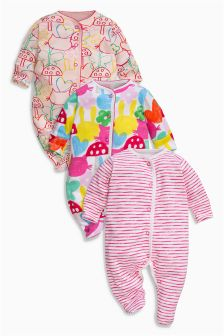 All Over Print Sleepsuits Three Pack (0mths-2yrs)
