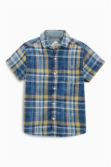 Indigo Short Sleeve Check Shirt (3-16yrs)