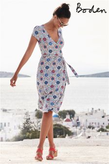 Boden White Mosaic Summer Wrap Dress