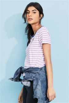 Stripe Rose Graphic T-Shirt
