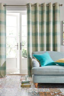 Teal Textured Woven Check Eyelet Curtains