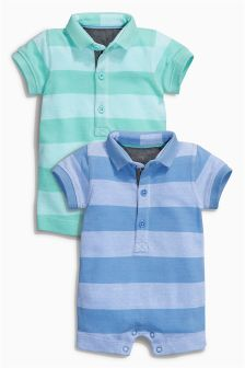 Stripe Poloshirt Rompers Two Pack (0mths-2yrs)