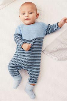 Blue Stripe Knitted Romper (0mths-2yrs)
