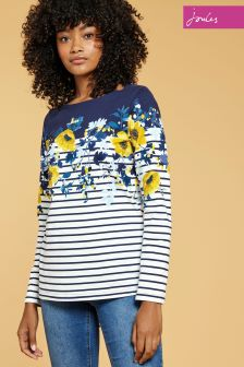 Joules Navy Camellia Harbour Print Jersey Top