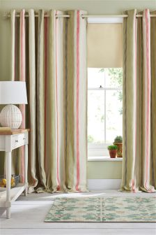 Green And Coral Multi Woven Stripe Eyelet Curtains