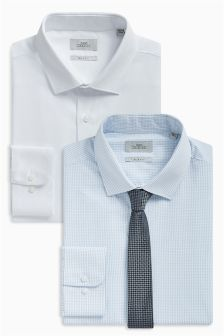 Check And Plain Slim Fit Shirts With Tie Two Pack