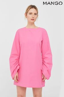 Mango Pink Tie Sleeve Dress