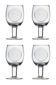 Set Of 4 Hand Made Embossed Wine Glasses