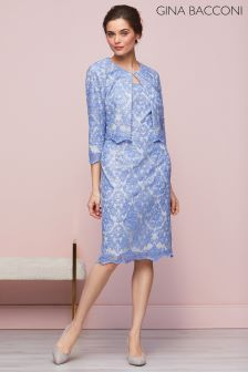 Gina Bacconi Blue Vera Embroidered Dress And Jacket