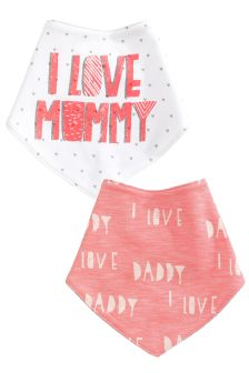 Pink Mum And Dad Dribble Bibs Two Pack