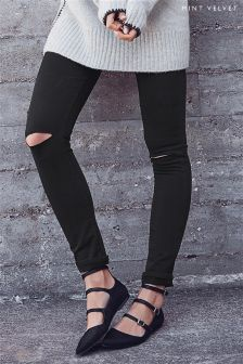 Mint Velvet Arizona Black Double Ripped Knee Skinny Jean