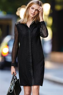 Black Lace Shirt Dress