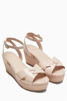 Mixed Material Flatform Sandals