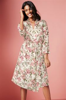 Print Lightweight Textured Robe