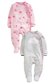 Two Pack Pink Cloud Mum And Dad Sleepsuits (0mths-2yrs)