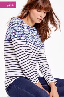 Joules Blue Boarder Harbour Print Jersey Top