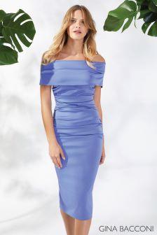 Gina Bacconi Blue Marisa Matt Satin Dress