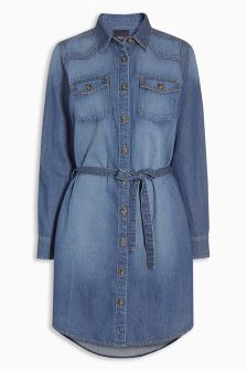 Dark Blue Denim Shirt Dress