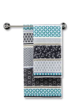 Blue Geometric Panelled Towel