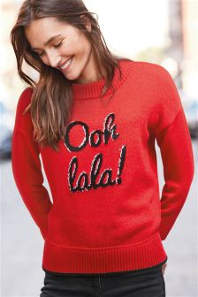 Ooh La La Slogan Sweater