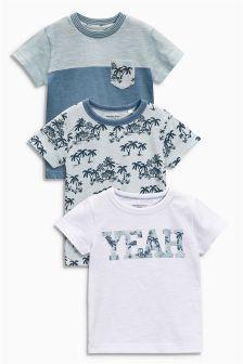 Blue 'Yeah' Print T-Shirts Three Pack (3mths-6yrs)