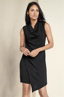Black Asymmetric Cowl Neck Dress
