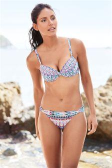 Multi Zig Zag Print Shape Enhancing Bikini Top