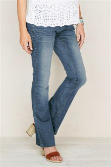Blue/Black Over The Bump Boot Cut Jeans